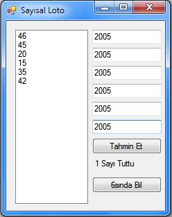 C# ile sayısal loto